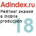 Рейтинг знания в mobile production (AdIndex) — <br>18 место