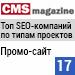 Рейтинг SEO-компаний по типам проектов / Промо-сайт («Рейтинг Рунета», CMSmagazine) — 17 место