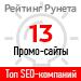 Рейтинг SEO-компаний <br>по типам проектов / Промо-сайт («Рейтинг Рунета») — 13 место