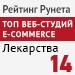 Рейтинг разработчиков интернет-магазинов / Средний сегмент / Лекарства («Рейтинг Рунета») - 14 место