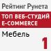 Рейтинг разработчиков интернет-магазинов / Средний сегмент / Мебель («Рейтинг Рунета») - 1 место