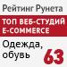 Рейтинг разработчиков интернет-магазинов / Средний сегмент / Одежда, обувь («Рейтинг Рунета») - 63 место