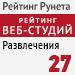 """Рейтинг веб-студий (""""Рейтинг Рунета"""") / Развлечения - 27 место"""