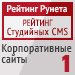 """Рейтинг студийных CMS / Корпоративные сайты (""""Рейтинг Рунета"""") — 1 место"""