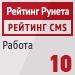 """Рейтинг CMS / Работа (""""Рейтинг Рунета"""") — 10 место"""