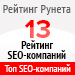 Рейтинг SEO-компаний («Рейтинг Рунета») — 13 место
