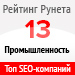 Рейтинг SEO-компаний / Промышленность («Рейтинг Рунета») — 13 место