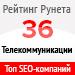 Рейтинг SEO-компаний / Телекоммуникации («Рейтинг Рунета») — 36 место