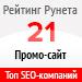 Рейтинг SEO-компаний  по типам проектов / Промо-сайт («Рейтинг Рунета») — 21 место