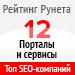 Рейтинг SEO-компаний  по типам проектов / Порталы и сервисы («Рейтинг Рунета») — 12 место