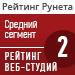 """Рейтинг веб-студий (""""Рейтинг Рунета"""") / Средний ценовой сегмент — 2 место"""