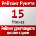 Рейтинг креативности (Рейтинг Рунета) / Москва  — 15 место
