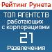 Рейтинг агентств, работающих с корпорациями (Рейтинг Рунета) / Развлечения — 21 место