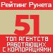 Рейтинг агентств, работающих с корпорациями (Рейтинг Рунета) — 51 место