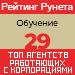 Рейтинг агентств, работающих с корпорациями (Рейтинг Рунета) / Обучение — 29 место